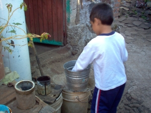 bucket washing at great-grandmas