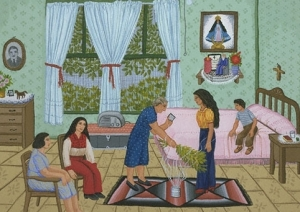 An example of a full cleansing by a curandera. The herb brush is passed around the body with prayers for cleansing.