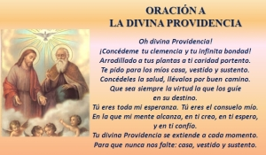 Prayers to la divina providencia are made for financial favors with special emphasis on receiving each day our daily bread.