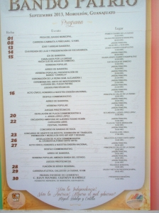 The program of events for Moroleon 2013.