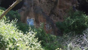 A little graffiti at the base of the caves.