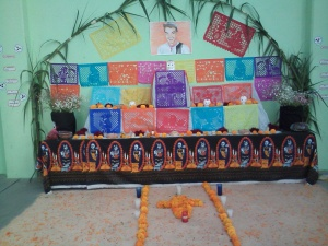 An altar in honor of the deceased Mexican comedian Cantiflas.