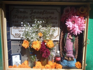 A crypt decorated for El Dia de los Muertos.
