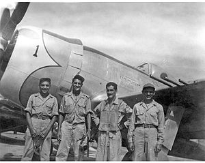 Some of the pilots of the Aztec Eagles.