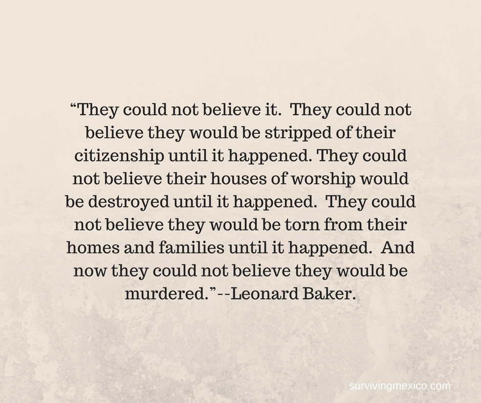 """""""They could not believe it. They could not believe they would be stripped of their citizenship until it happened. They could not believe their houses of worship would be destroyed unti"""