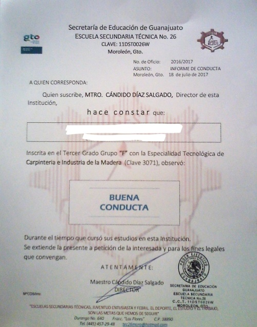 good conduct certificate