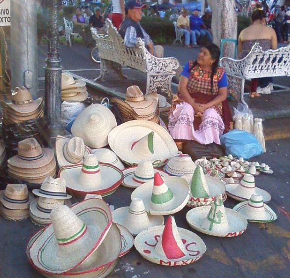 hat seller lady