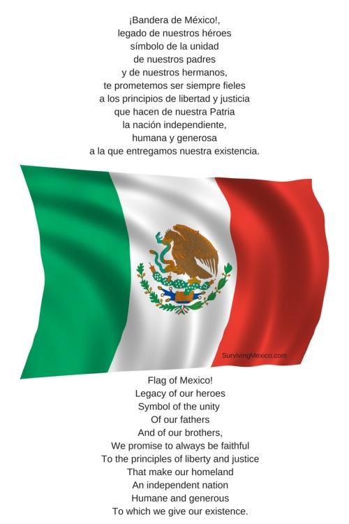 ¡Bandera de México!,legado de nuestros héroessímbolo de la unidadde nuestros padresy de nuestros hermanos,te prometemos ser siempre fielesa los principios de libertad y justiciaque h
